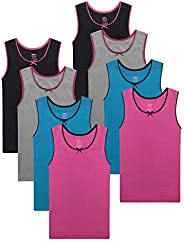 Buyless Fashion Girls Tagless Cami Scoop Neck Undershirts Cotton Tank with Trim and Strap (8 Pack)