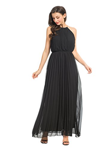 Persun Women's Open Shoulder Cut Out Back Pleated Chiffon Sleeveless Maxi Dress Black X-Large