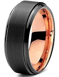 Tungsten Wedding Band Ring 8mm for Men Women Black & 18K...