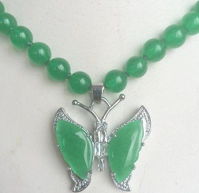 Meenanoom Beautiful 8mm natural Green Jade 18K GP Butterfly Pendant Necklace 18