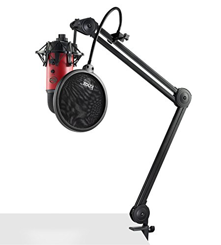 Blue Microphones Yeti Red USB Microphone with Knox Studio Arm, Shock Mount and Pop Filter