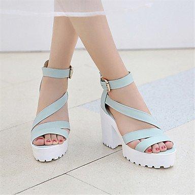 LvYuan Mujer-Tacón Robusto-Creepers Zapatos del club-Sandalias-Vestido Informal-Semicuero-Azul Rosa Blanco Blue