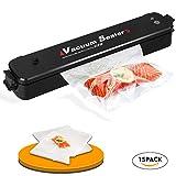 Wuayur Vacuum Sealer,Food Vacuum Packing Machine with Vacuum Hose Automatic Vacuum Sealing System With 15 Pcs Vacuum Sealer Bags[Black]
