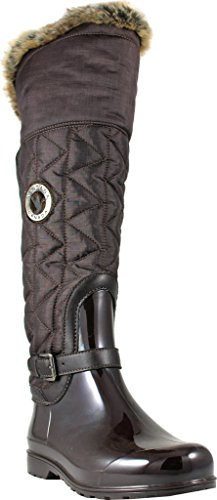 Santana Canada Women's Clarissa2 Tall Rain Boot,Brown Brushed Premium Nylon,US 6 by Santana Canada