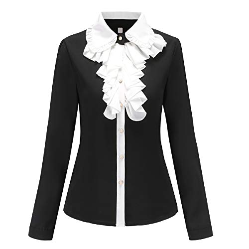 Shirts for Women Vintage Victoria Ruffle Ruffle Bow Tie Lolita Blouse Top (YS01, L) -