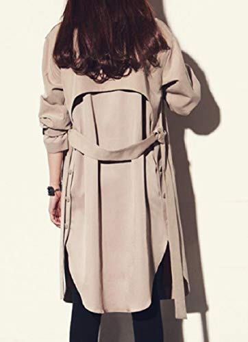 Outwear Open Coat Collar Khaki RkBaoye Trench Plus Belted Women Down Turn Size qxE4vwxR