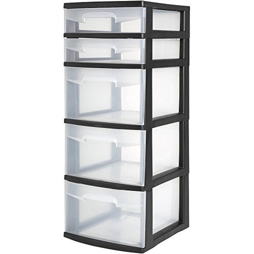 (Case of 2, 5 Drawer Durable Tower, Black/White)