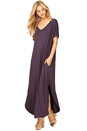 Annabelle Womens Casual Short Sleeve Curved Hem Split Maxi Dresses with Pockets Large Slate D5210