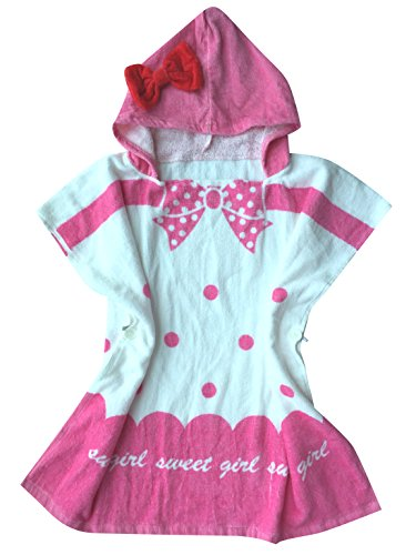 Pink Hooded Beach Towel Poncho for Baby Girls with Red Bow Decoration Multi-use Kids Bath Pool Swimming Robe Towels, Bowknot (Poncho Baby Girl)