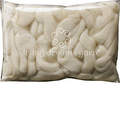 Wool Roving. Super Soft BFL Combed Top Pre-Drafted for Easy Hand Spinning. Natural Craft Fiber ideal for Felting, Weaving, Wall Hangings and Embellishments. 1 Ounce. Natural