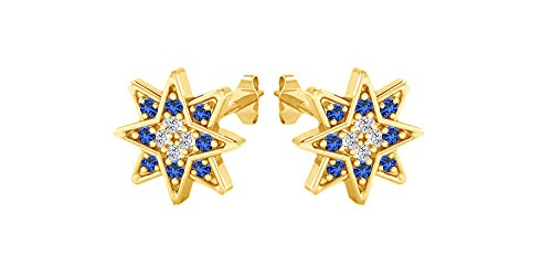 Star Stud Cluster Simulated Sapphire Gemstone Earrings 14k Yellow Gold Over Sterling - Sapphire Motif Earrings