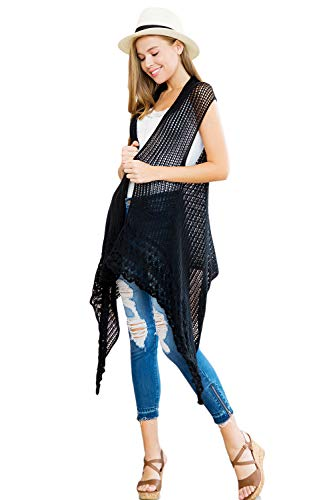 Crochet Sweater Knit Long Drape Vest Sleeveless Cardigan - Open Knitted Beachwear Bathing Swimsuit Bikini Cover Kaftan Shawl (Black) - Knit Black Vest
