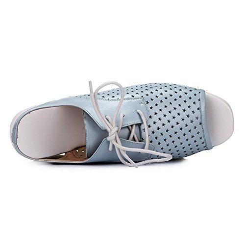 Allhqfashion Dames Open Vierkante Neus Koe Lederen Kitten Hakken Stevige Sandalen Met Bandage Blauw