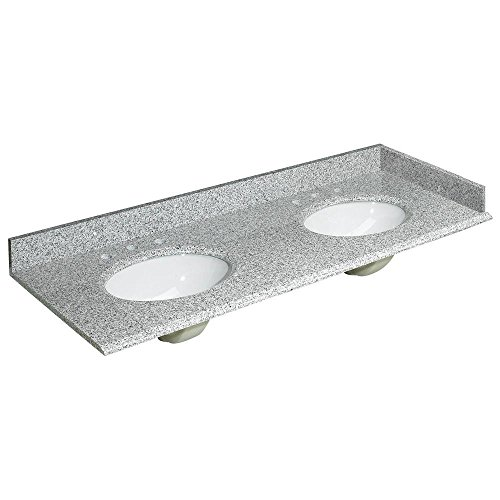 Foremost HG61228RG Heritage 61-Inch Granite Vanity Top with Two Bowls, Rushmore Grey ()