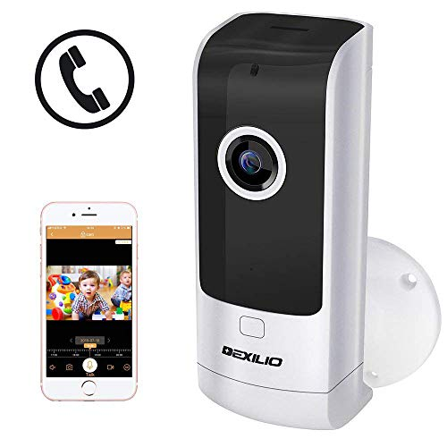 Wireless Security Camera with Call Button, DEXILIO WiFi Home Surveillance Indoor IP Camera for Baby/Elder/ Pet/Nanny Monitor, 180°Fisheye View Two-Way Audio&Night Vision&Motion Detection