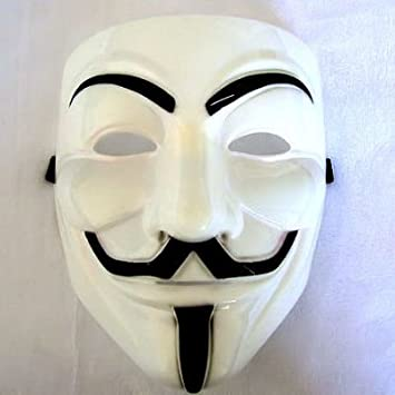Acta de la máscara en V Vendetta Anonymous oro amarillo y blanco