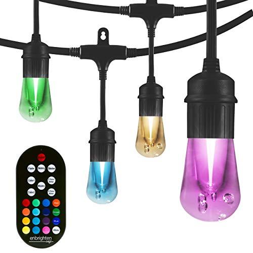 Enbrighten Vintage Seasons LED Warm White & Color Changing Caf String Lights, Black, 24ft. 37791 (Renewed)