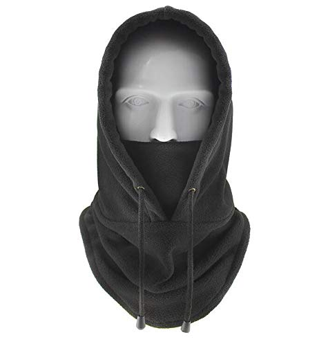 Winter Warm Fleece Hat Tactical Heavyweight Balaclava Outdoor Sports Mask (Black)