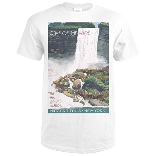 Niagara Falls, New York - Cave of the Winds View (Premium White T-Shirt X-Large) (Cave Of The Winds Niagara Falls New York)