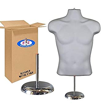 Easy Set Up and Transport Deluxe 8 Metal Base. Male Mannequin Body Torso by EZ Mannequins White Dress Form Clothing Display with Stand Great for Indoor Or Outdoor Table Products