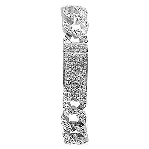 (Charles Raymond Bling-ed Out Crystal Accented Iced Cuban ID Mens Bracelet - 777 Cuban ID Silver)
