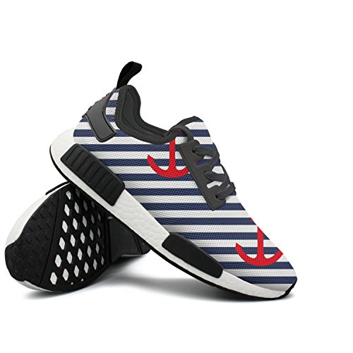 CVOIREWKLL Sailor Stripe Red Anchor Non-slip Classic Stylish Print Running Shoes by CVOIREWKLL