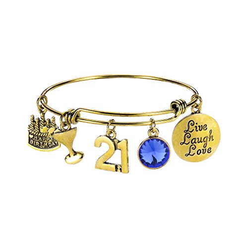 Birthday Bangles Live Laugh Love Charms Birthstone Expandable Bangle Bracelets with Message Card for Women Girl