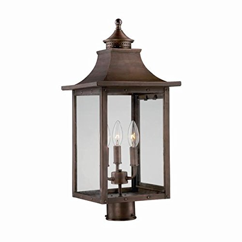 Acclaim 8317CP St. Charles Collection 3-Light Post Mount Outdoor Light Fixture, Copper -