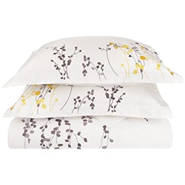 100% Cotton, 3-Piece King/California King, Single Ply, Soft, Embroidered Reed Duvet Cover Set