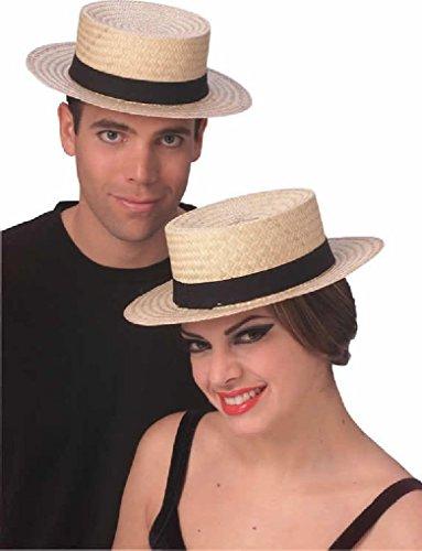 [Ponce Straw Skimmer Hat Sailor Boater Captains Costume Dress Medium Large] (Sailor Straw Hat)