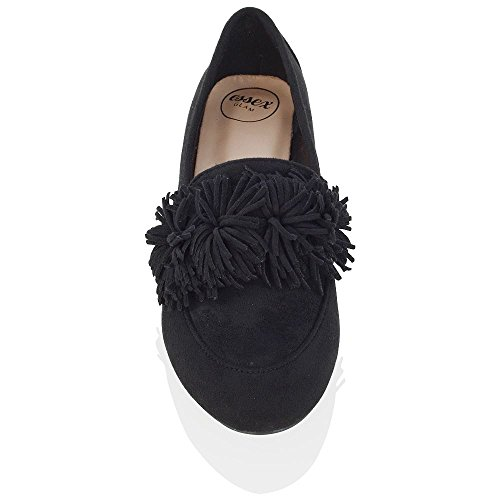 ESSEX GLAM New Womens Slip On Flat Tassel Fringe Pumps Ladies Faux Suede Ballet Loafers Shoes Black Faux Suede q6Wb51y