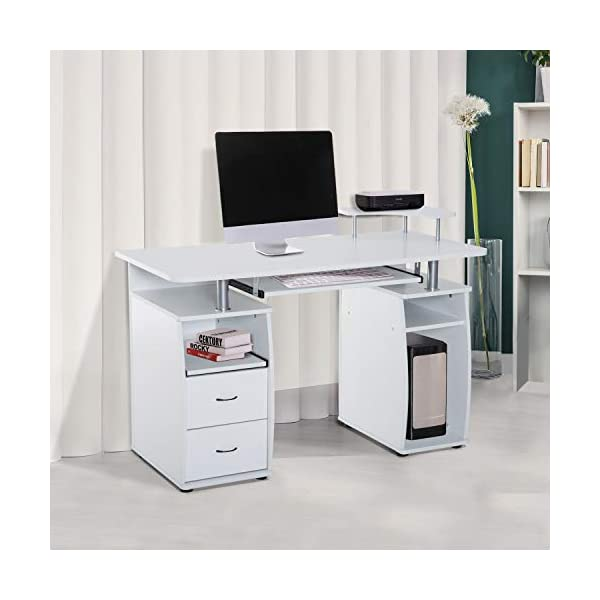 HOMCOM Bureau Informatique multimédia Multi-rangements 120 L x 55 l x 85 H cm Blanc