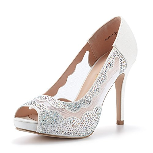 DREAM PAIRS Women's Divine-01 White High Heel Pump Shoes - 9 M ()
