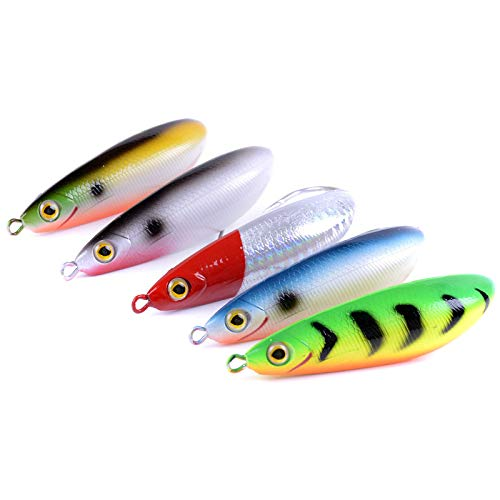 SODIAL 5 Pieces Rattling Minnow Spoon Fishing Lure 8.5cm 20g Freshwater Saltwater Weedless Crank Bait Snapper Winter Ice Fish Bait ()