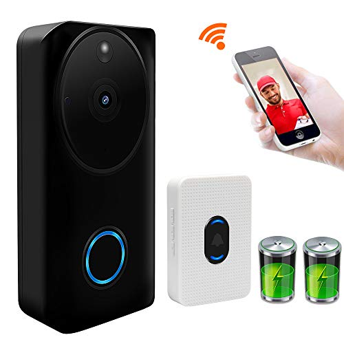 Viewzone Video Doorbell Camera, 720P 2.4GHz WiFi Wireless Video Doorbell with Motion Detection Night Vision Two Way Audio for Home Security, Built in Battery & 8G Micro SD Card, Include Chime Bell ()