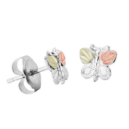 Diamond-Cut Butterfly Earrings, Sterling Silver, 12k Rose and Green Gold Black Hills Gold Motif (Black Hills Gold Butterfly Earrings)