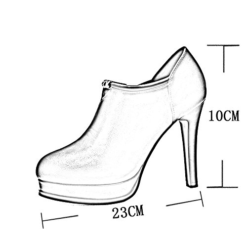 MuMa Court Shoe Fashion New Shoes Sexy High Heels Waterproof Shallow Round Single High Heels Red x3ovvK8