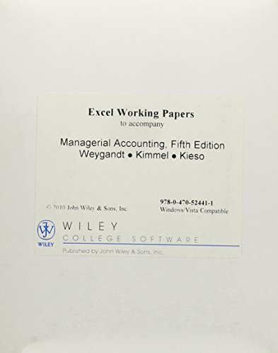 Excel Working Papers Cd (Excel Working Papers CD to accompany Managerial Accounting, 5e)