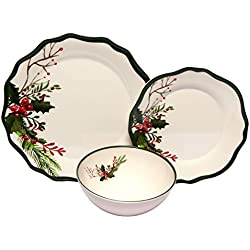 Melange 12-Piece 100% Melamine Dinnerware Set (Winter Bouquet Collection ) | Shatter-Proof and Chip-Resistant Melamine Plates and Bowls | Dinner Plate, Salad Plate & Soup Bowl (4 Each)