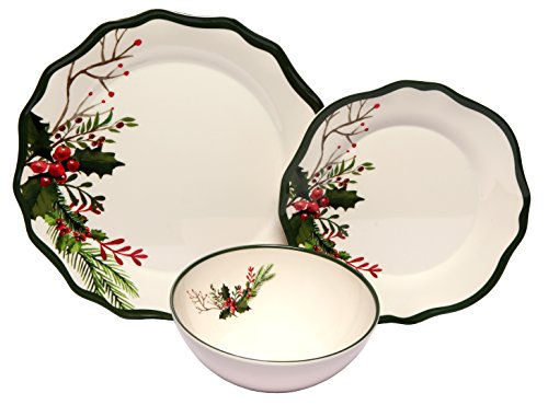 Melange 12-Piece 100% Melamine Dinnerware Set (Winter Bouquet Collection )   Shatter-Proof and Chip-Resistant Melamine Plates and Bowls   Dinner Plate, Salad Plate & Soup Bowl (4 Each)