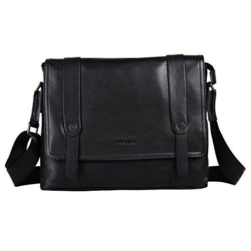 Leathario bolso bandolera para hombres de estilo clásico simple y retro apto para muchas ocasiones con La primera capa de cuero para diario viaje o trabajo. negro