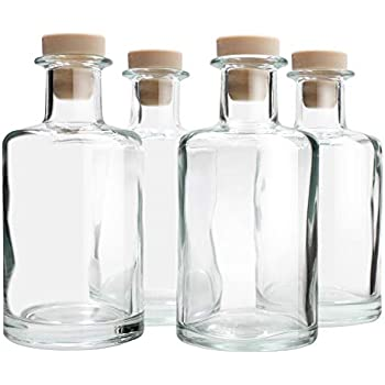 Feel FragranceGlass Diffuser Bottles Diffuser Jars with Cork Caps Set of 4 - 5.3 inches High, 240ml 8.2 Ounce. Fragrance Accessories Use for DIY Replacement Reed Diffuser Sets.