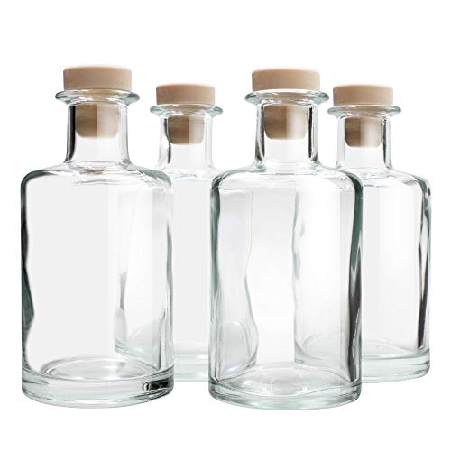 Feel Fragrance  Glass Diffuser Bottles Diffuser Jars with Cork Caps Set of 4 - 5.3 inches High, 240ml 8.2 Ounce. Fragrance Accessories Use for DIY Replacement Reed Diffuser Sets. (Replacement Set Reed)