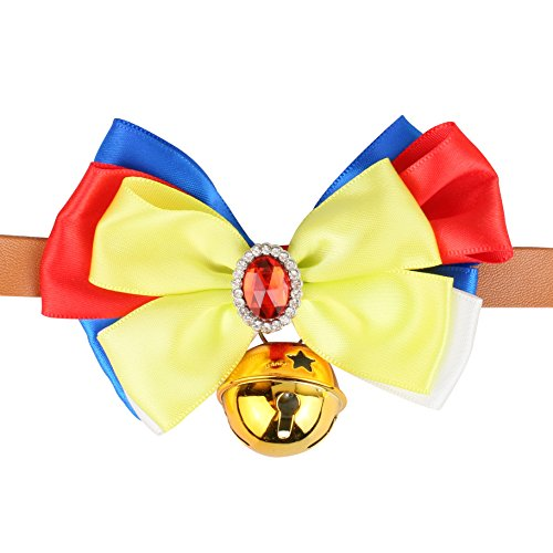 MW Pet Bow Snow White Style Adjustable Leather Belt Pet Collar,Holiday Celebration Collars with Bell for Small Pet, Puppy, Cat XS Size Fits Pets Neck Circumference (XS, Snow White) ()