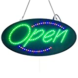 Leadleds 1910-3 Neon Sign Portable 19-inch Led Open Sign Board Green Red Blue Yellow Four Colors with 3 Light Modes for Beauty Salon Nail Sushi Bakery Barber Massage Restaurant Office Store Business