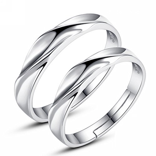 Weekly Promotion 30% Discount Off Merdia Euramerican S925 Sterling Silver Ripple Waves Design Adjustable Couples Rings Mens Womens Wedding Bands (Wave Band Design)
