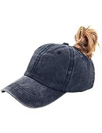 ecda94c1e86 Ponytail Baseball Hat Distressed Retro Washed Cotton Twill