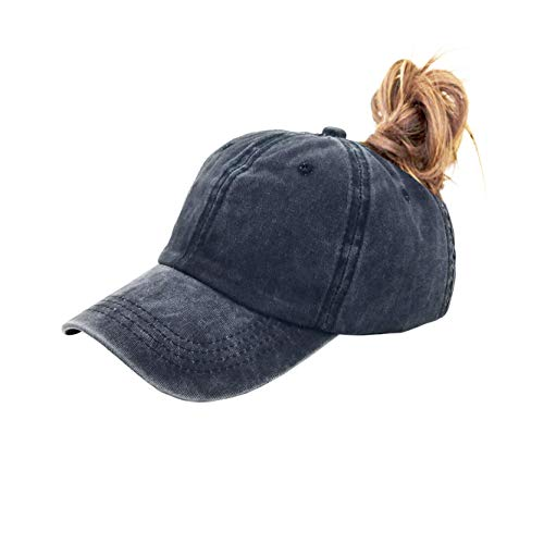(Eohak Ponytail Baseball Hat Distressed Retro Washed Cotton Twill (Black) )