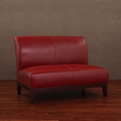 Burnt Red Leather Loveseat - Seat Conversation Leather Sofa