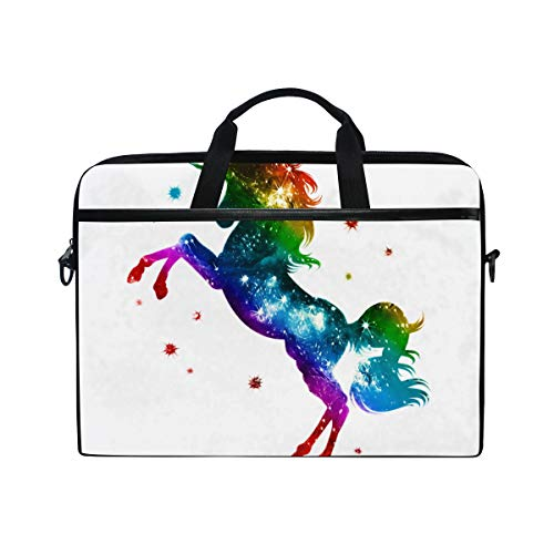 TARTINY 15-15.4 Inch Laptop Bag Rainbow Unicorn Stars Colorful Fantasy Shoulder Messenger Bags Sleeve Case Tablet Briefcase with Handle Strap